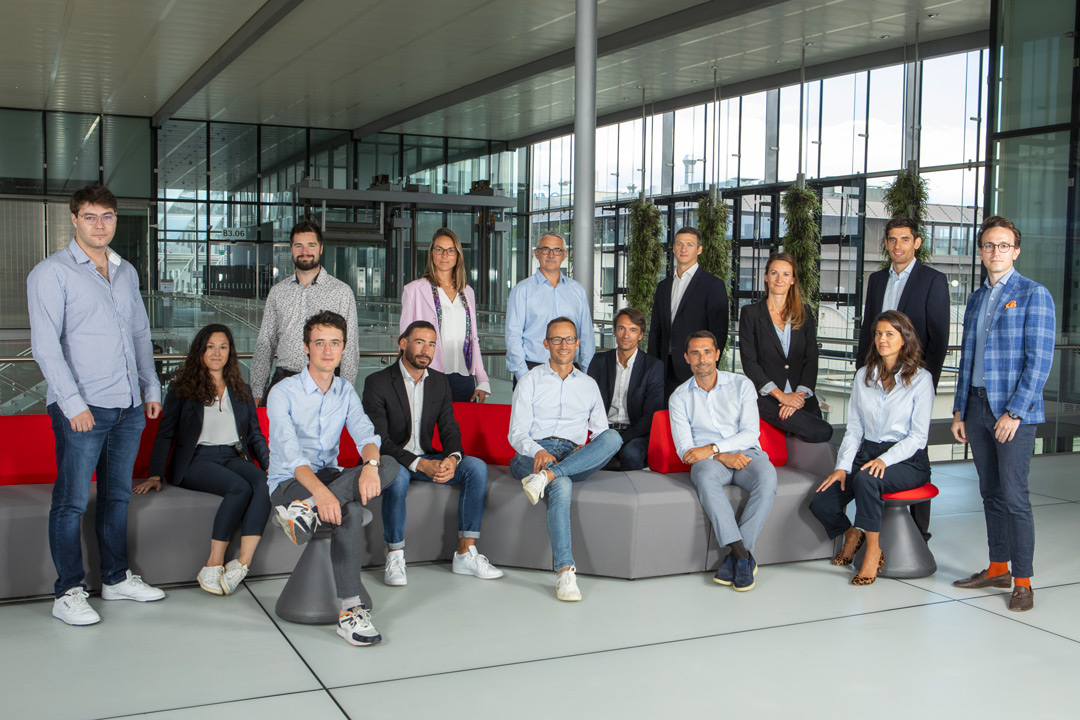 A picture of the Wecan team in the offices of the Campus Biotech in Geneva